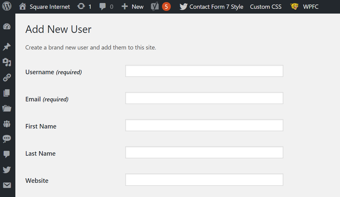 Add new user WordPress