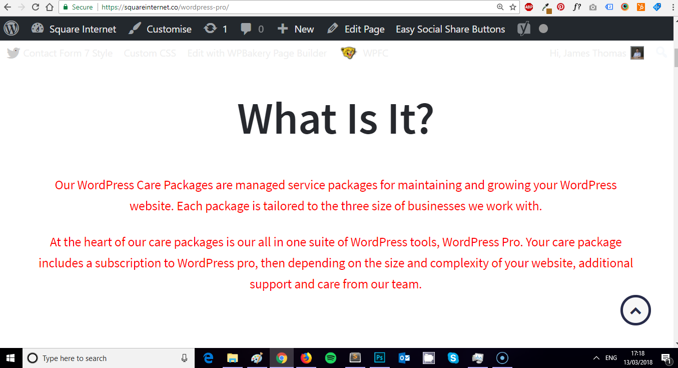 Red paragraph styling css on multiple WordPress pages