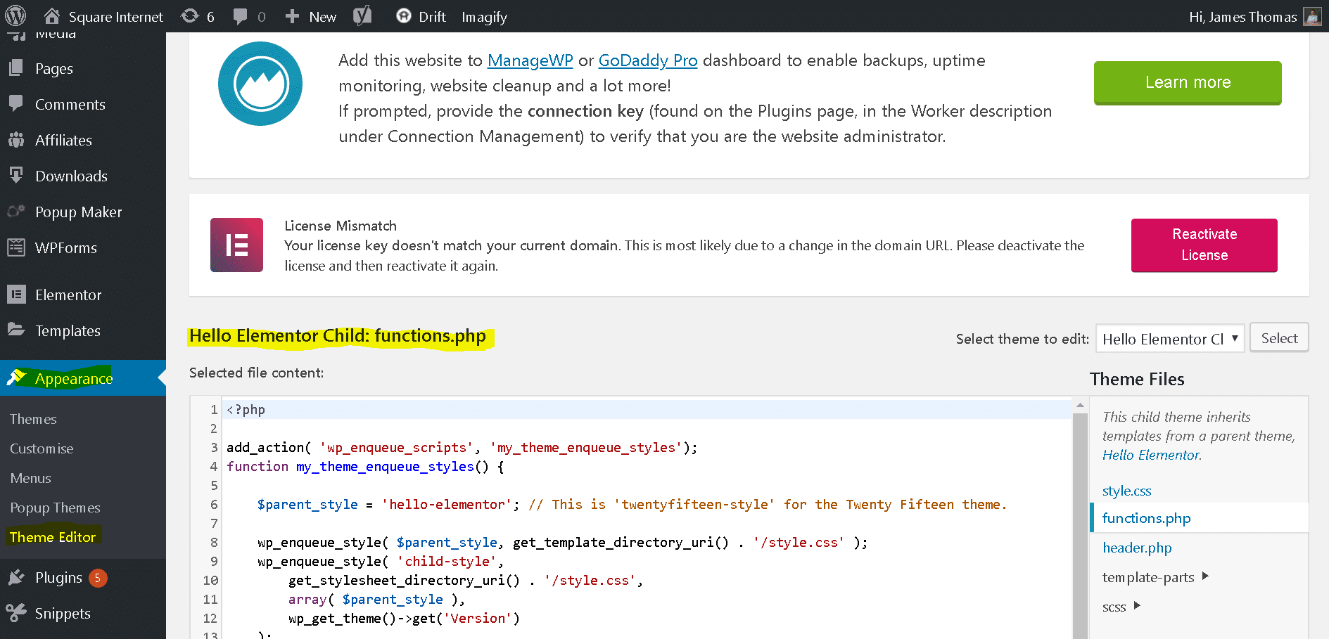 Inserting Scripts In The Wordpress Head Or Body Using Wp Enqueue Script Square Internet